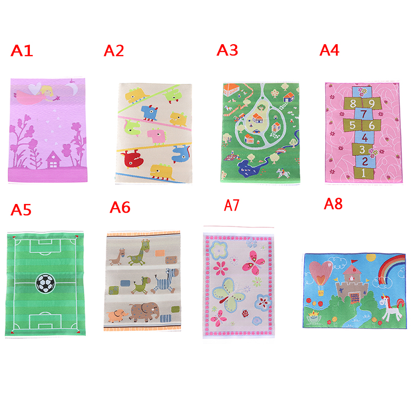 7 New Styles Dollhouse Mini Cartoon Pattern Carpet 1//12 Doll House Accessory