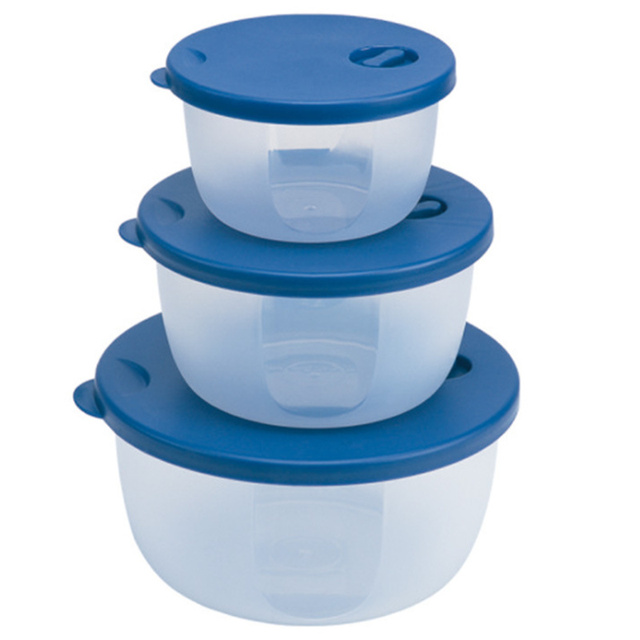 3 Pieces Round Plastic Bowl Microwave Safe Food Container Freezer Storage Lunch Bo For