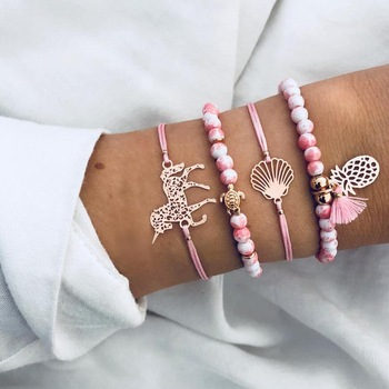 4 Pcs/set Pineapple, Unicorn, Turtle Charm Bracelets Set