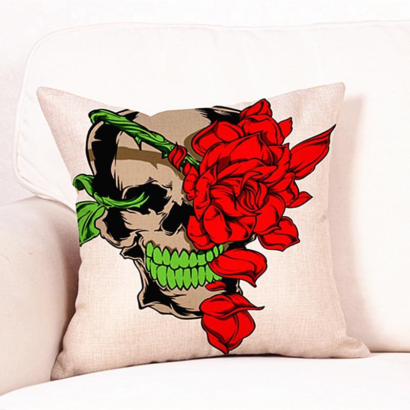 Fashion Pillowcase Halloween Skull Rose Cushion Cover Cotton Linen Pillow Cove Decorative Throw Pillows Home Textile Decorating