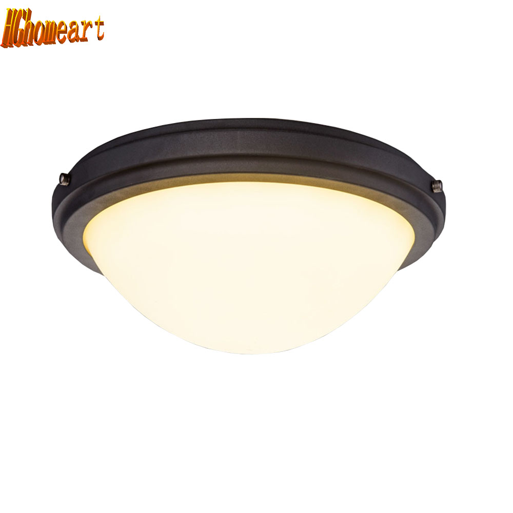 HGhomeart American Retro Style Iron Flush Mount Ceiling Light Luminaria Bedroom Lamp Indoor Lighting Dining Room Ceiling Lamps wholesale factory price retro copper lighting led ceiling light for home bedroom study dining room lamp