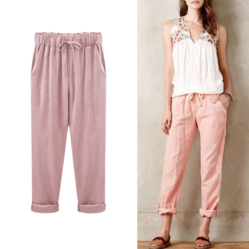 Plus Size Harem Pants Cotton Thin Women Summer Elastic Waist Pockets Ladies Trousers Imitation Linen Cotton Vintage Pants Woman