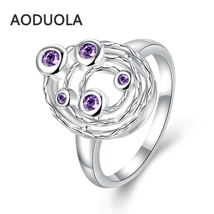 Silver Plated Ring universe with Purple Zirconia Planet Women's Rings Ladies and Girls Jewelry For Female Engagement Wedding