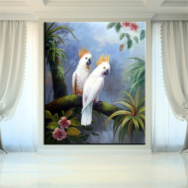 Aliexpresscom Buy DP ARTISAN NO FRAME WHITE parrot ANIMAL ARTS