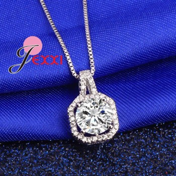 Genuine 925 Sterling Silver Super Shining Square Design Cubic Zircon Pendant Necklaces For Women Bridal Wedding Jewelry 1