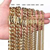 """16-40 """"316L Dell'acciaio Inossidabile Cubano Miami Catene Collane Big Heavy Oro Rotonda della Catena a maglia per Gli Uomini Hip hop Roccia gioielli"""