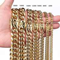 "16-40"" 316L Stainless Steel Cuban Miami Chains Necklaces Big Heavy Gold Round Link Chain for Men Hip Hop Rock jewelry"