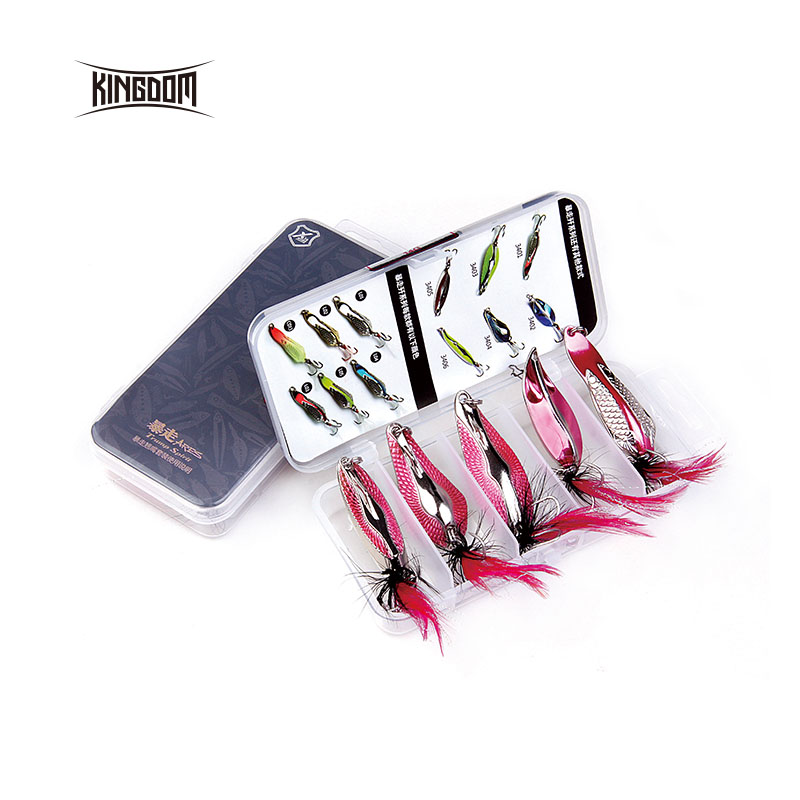 Kingdom Lure Kit Set Ձկնորսություն Lure Metal Spoon Set 4 կտոր մի տուփի մեջ Spinner Metal Wobblers Bait 7g, 10.5g, 14g