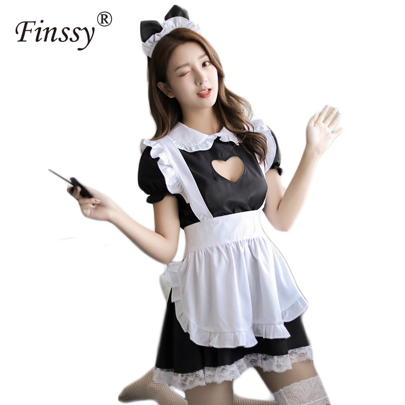 Classic Black Cafe Maid Cosplay Costume Lolita Cute Dress Restaurant Waiter Uniform For Women Including Bow Headdress