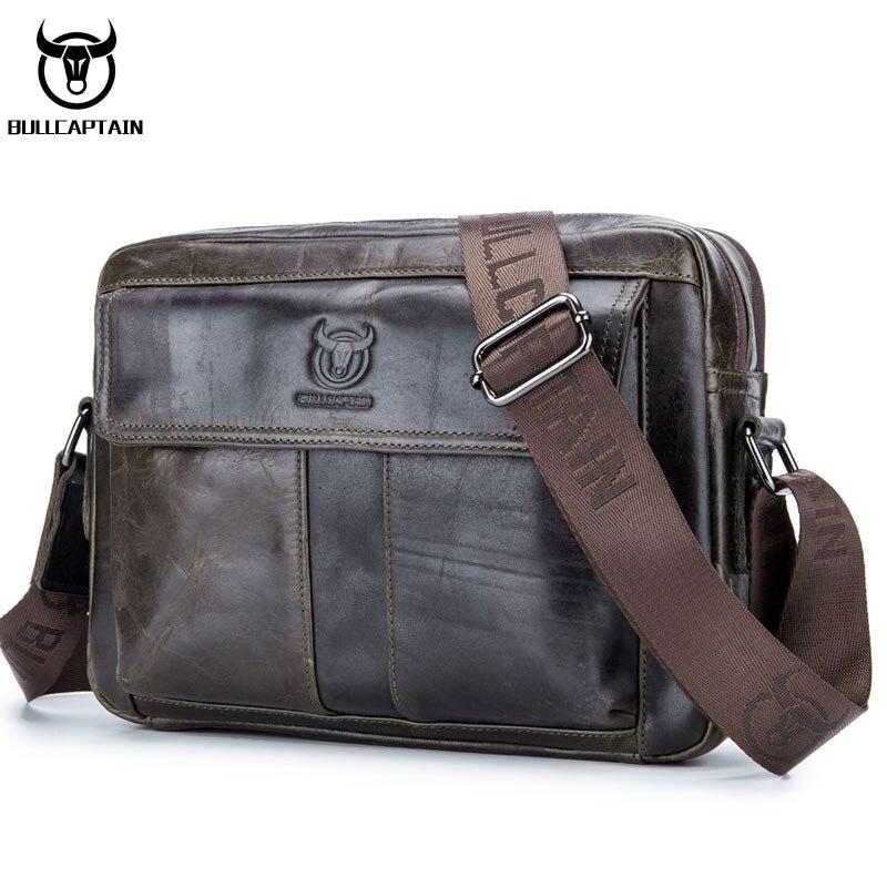 e109b3a38031 BULL CAPTAIN натуральная кожаная сумка для мужчин Повседневная Деловая  мужская сумка через плечо из воловьей кожи