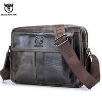 BULL CAPTAIN Genuine Leather Men Handbag Casual Business Man Shoulder Crossbody bags Cowhide Large Capacity Travel Messenger Bag