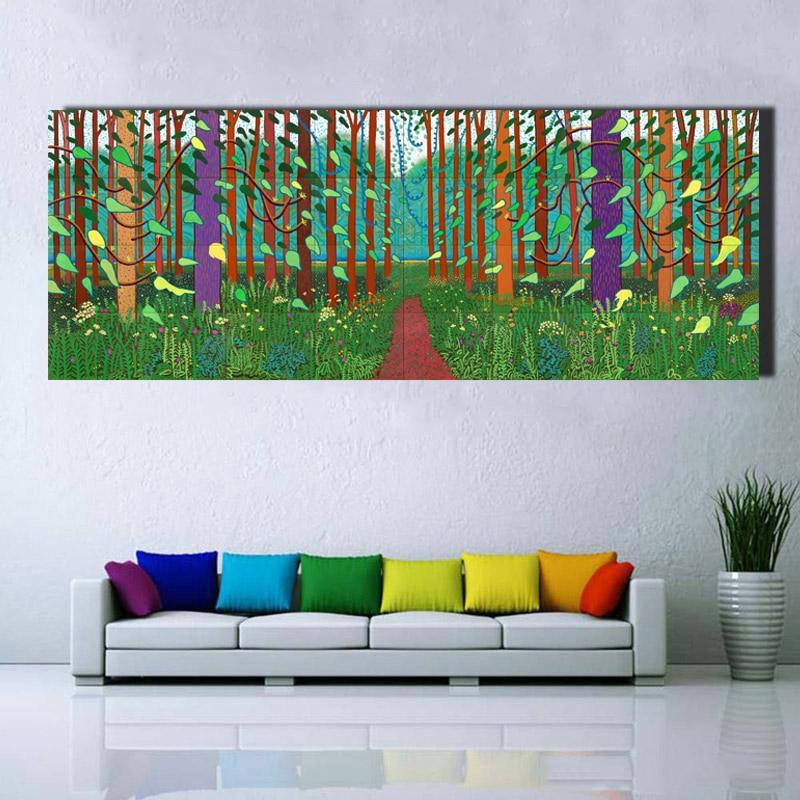 US $7.34 51% OFF David Hockney Baum und Blume Große Leinwand Malerei  Riesige Poster Wand Kunst Giclée druck Für Wohnzimmer, schlafzimmer  Landschaft ...