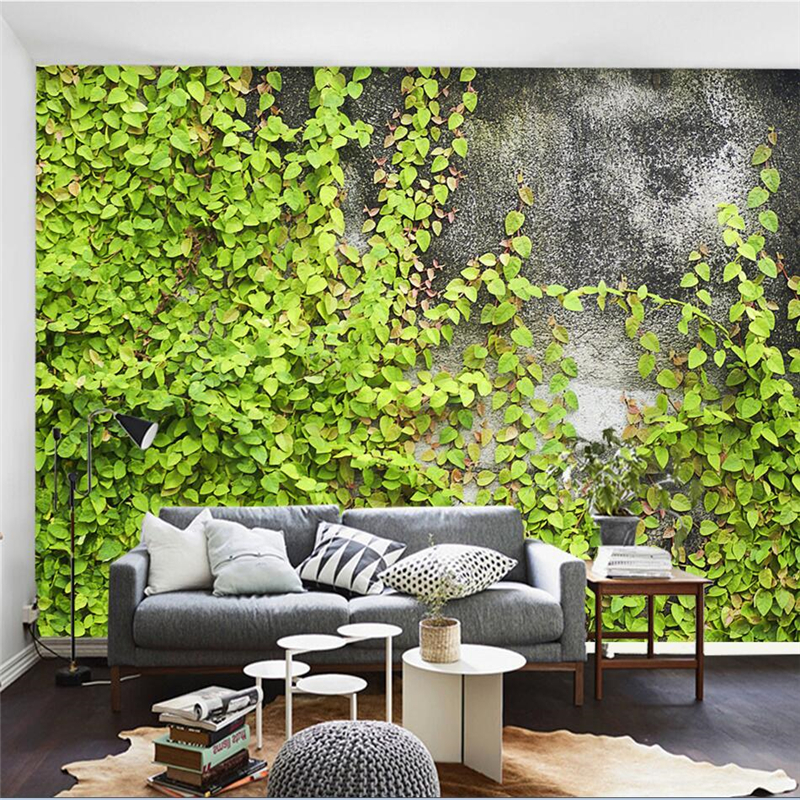 Beibehang Papel De Parede Para Quarto Custom Wallpaper Concrete Wall Nordic Green Plant Background Wall Photo
