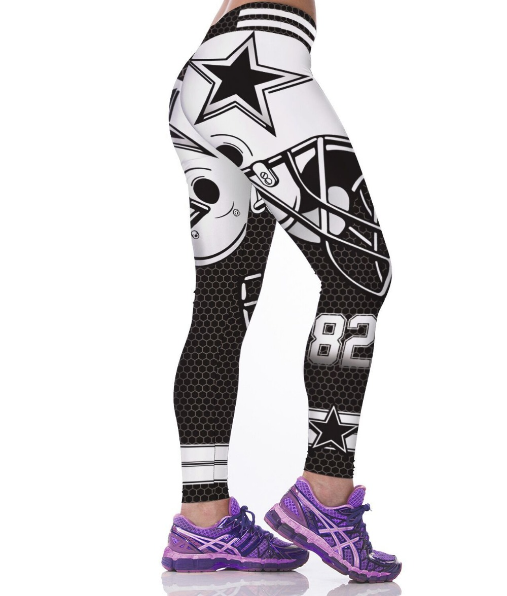 Unisex Dallas C-Team Logo Fitness Leggings Elastisk fiber Hiphop Party Cheerleader Rooter Treningsbukser Bukser Dropshipping