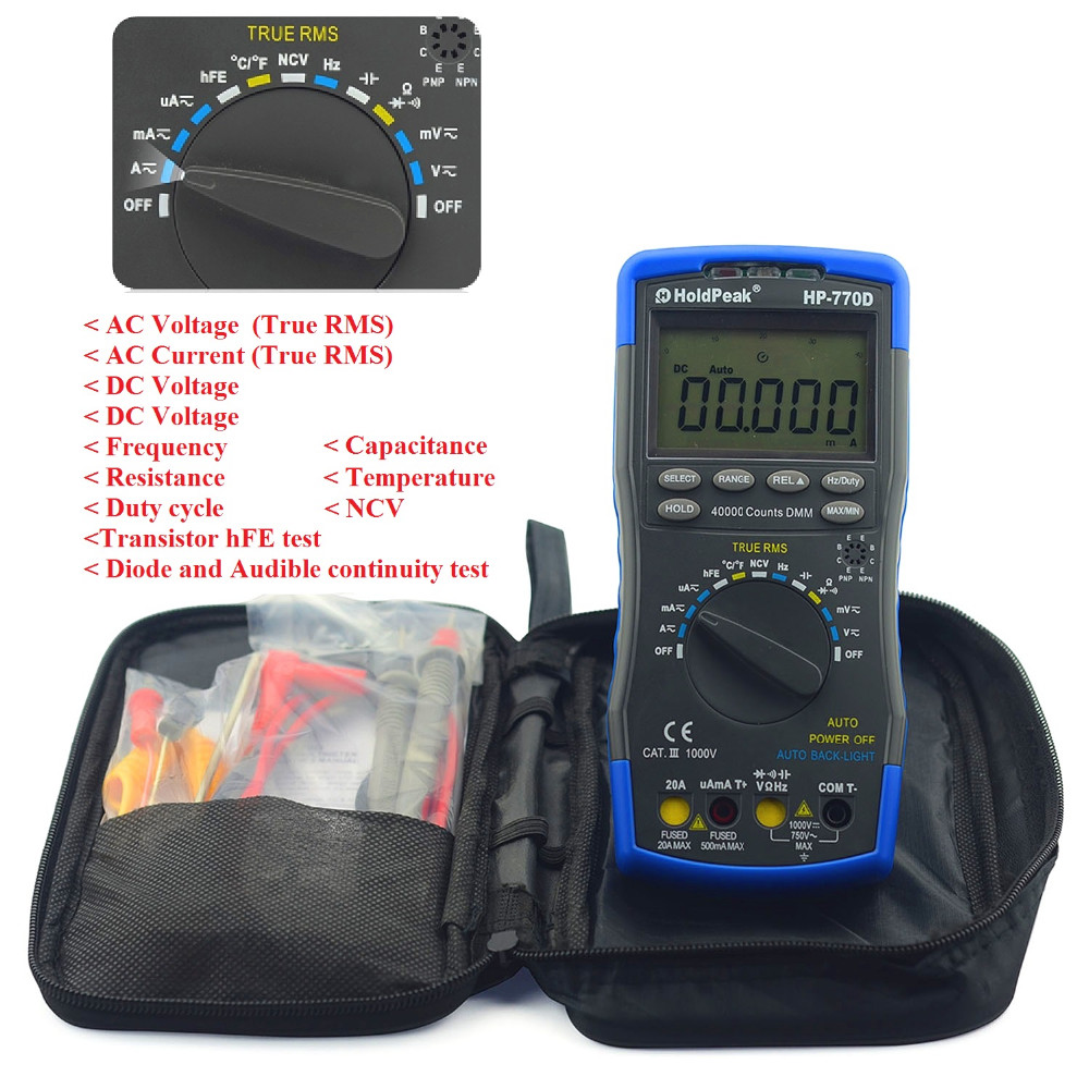 Holdpeak Multimeter 770D true rms auto range 40000 Counts Multimetro LCD Backlight Digital Multimeters voltmeter with Lead Test holdpeak hp 90epc multimetro digital usb multimeter dmm auto range tester lcd ammeter capacitance meter pc data transmission