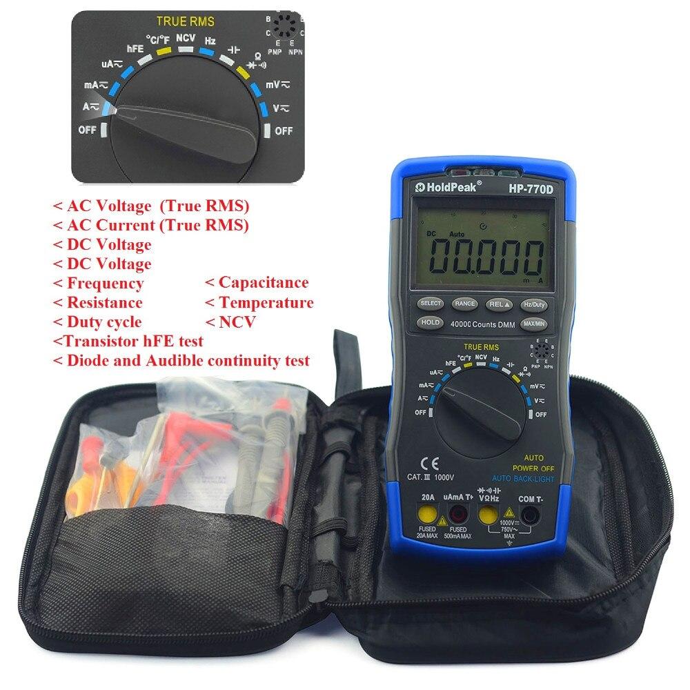 Multímetro Digital de HoldPeak HP 770D rango automático de alta precisión True RMS 40000 cuentas NCV corriente de voltaje CC ohmios probador - 6
