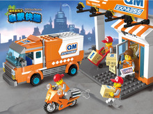 Enlighten Building Block City Series Truck Courier Station Compatible  Express Car Bricks Toys For Children Gift enlighten city series police swat car building block sets kids educational bricks toys compatible with legoe