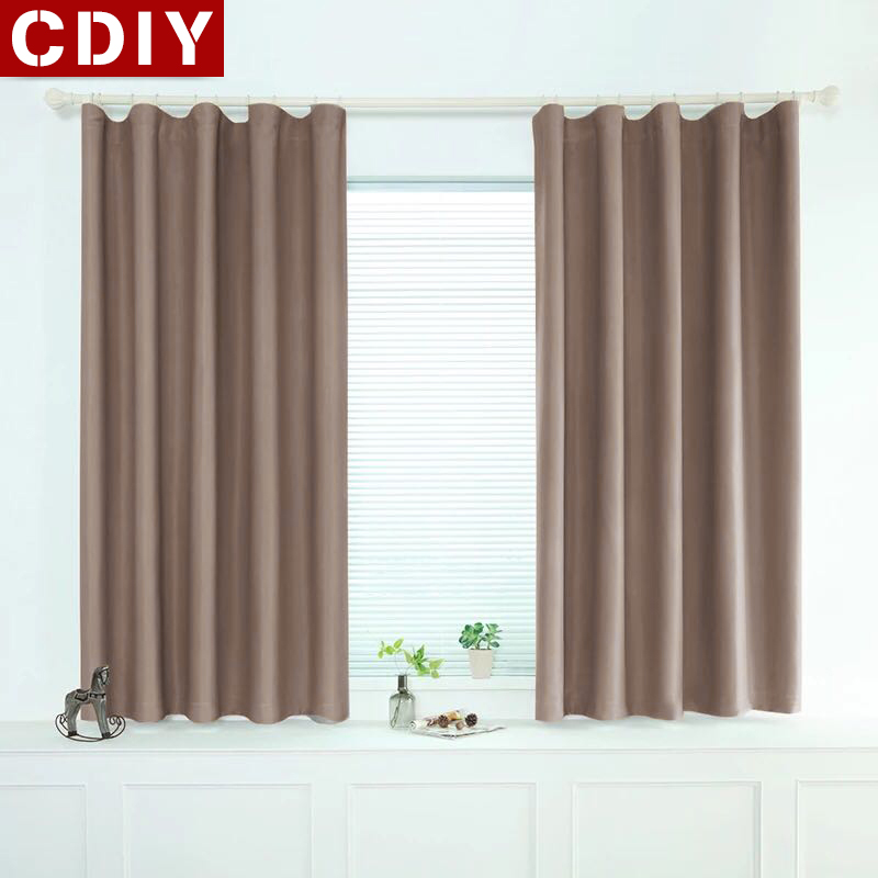 CDIY Modern Short Curtains Window Kitchen Blackout Curtains For Living Room Bedroom Soild Treatments Curtains For Door Balcony