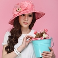 Ladies Organza Hat Derby Church Wedding Beach Cocktail Evening Party Summer Sun Cap Vintage Dress Fedora Wide Brim Summer Hat