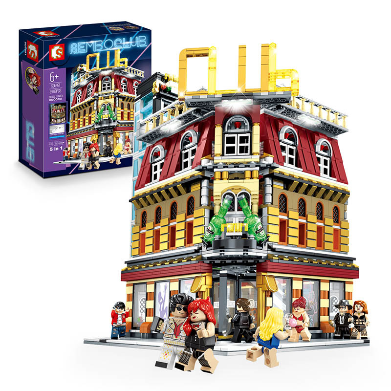 Sembo MOC City StreetView 5in1 Nightclub Bar Resort Hotel Compatible Legoed Building Blocks Bricks Streetscape With