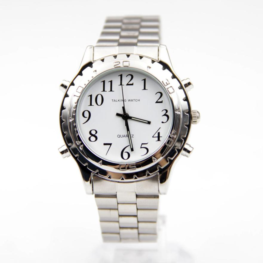 online buy whole talking watch for blind from talking hot unique english talking clock stainless steel for blind or visually impaired watch drop shipping f15