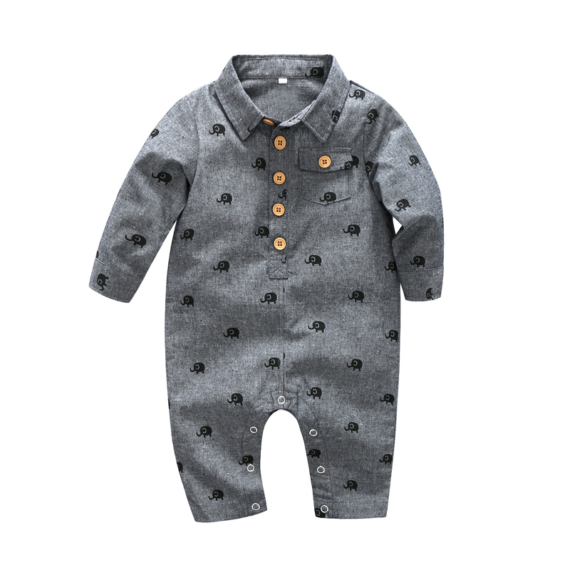baby boy clothes one-pieces jumpsuits baby clothing ,cotton long   romper   infant boys clothes Elephant printing size 70 80 90