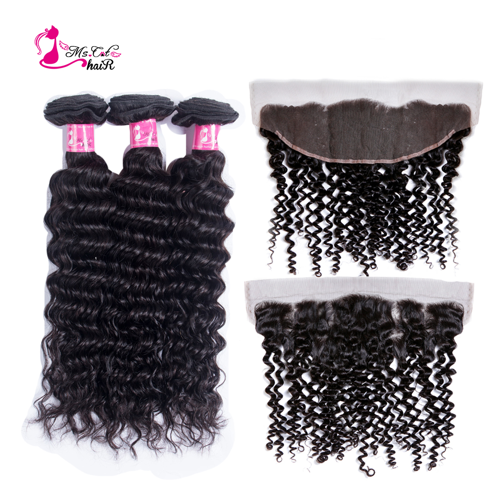 Ms Cat Deep Wave 3 Bundles With Lace Frontal Brazilian Human Hair Weave ear to ear