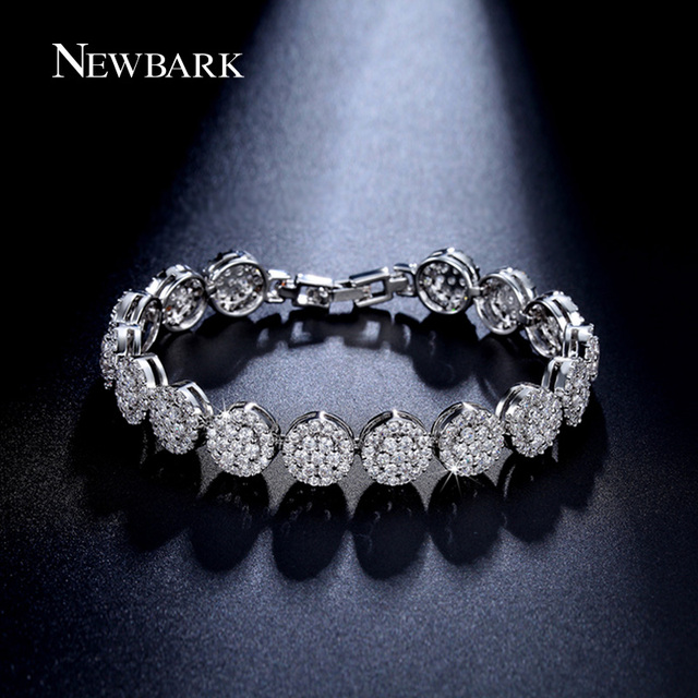 NEWBARK Charming Flower Bracelet Hand-set Micro Inlay Craft AAA+ CZ Diamond Studded Bracelet Bijouterie For Women And Girls