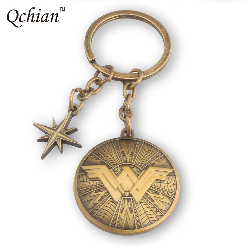 Hot Movie Wonder Woman Keychain Chaveiro Vintage Antique Bronze North Star Wonder Woman W Logo Key Holder Key Chains Ring