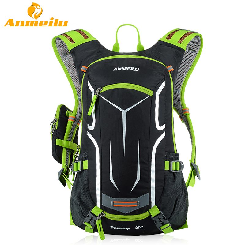 ФОТО ANMEILU 18L Waterproof Camping Backpack +2L Water Bag Bladder Outdoor Sports Climbing Cycling Bag Sport Rucksacks Camelback 2017
