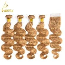 airUGo font b Hair b font Brazilian Pre Colored Body Wave 4 Bundles With Closure Non
