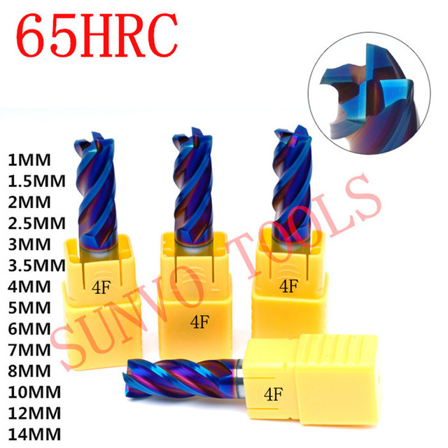 1mm 2mm 3mm 4mm 6mm 8mm 10mm 4 Flutes HRC65 Tungsten Carbide CNC Milling Nose Radius Cutters, Milling Tools, Carbide End mill