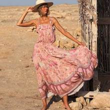 BOHO INSPIRED pink bloom floral STRAPPY DRESS tassels boho dress elastic waist gypsy women summer strapless party