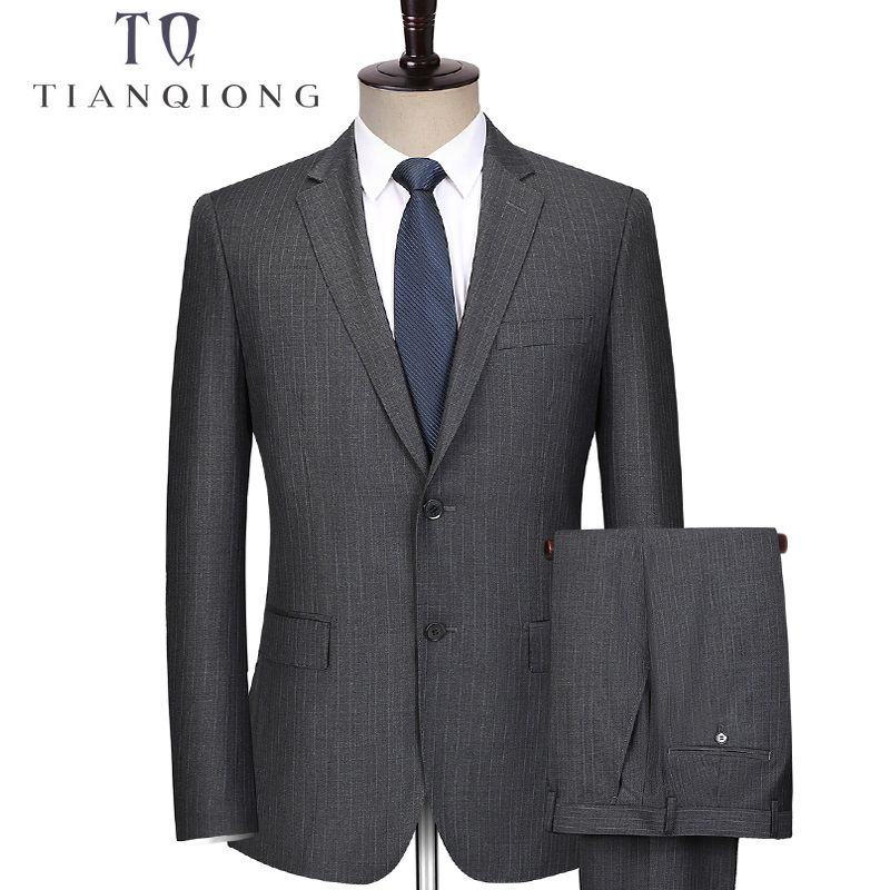 TIAN QIONG 2017 New Men Suits Stripe Terno Wedding Suit 2 Buttons Groom Tuxedos Tailor Made Men Suits Custom Made (Jacket+pants)