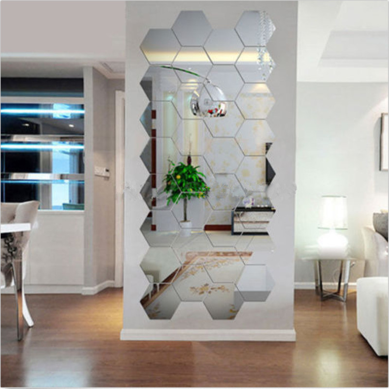 12pcs acrylic silver 3d hexagonal mirror wall stickers home decor removable newchina mainland - Mirror Decor