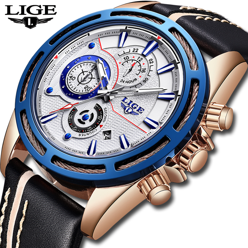 LIGE Mens Watches Top Brand Luxury Quartz Gold Watch Men Casual Leather Military Waterproof Sport Wrist watch Relogio Masculino 2017 mens watches top brand luxury lige men s leather quartz watch men waterproof fashion casual wrist watches relogio masculino