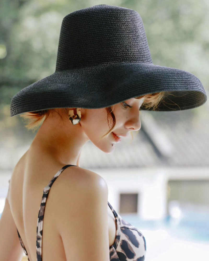 c6a39622 2019 Black White Handmade Weave Sold Sun Hats for Women Black Large Brim Straw  Hat Outdoor