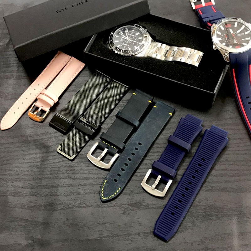 MEGIR Original Watch Strap Silicone Leather Stainless Steel Canvas Band Bracelet Accessories
