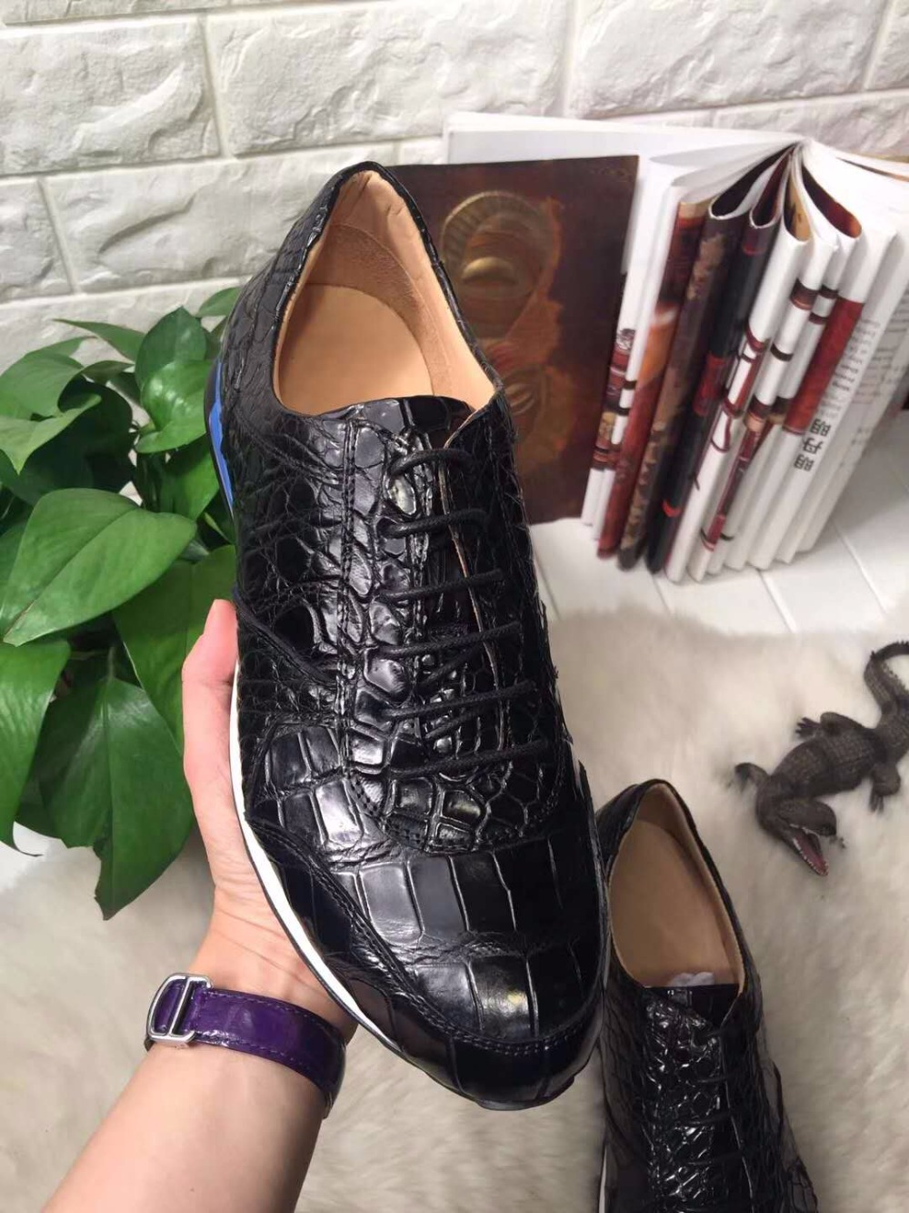 2018 Genuine real genuine crocodile belly skin men shoe, top quality crocodile skin leisure fashion men shoe black color crocodile crocodile cr225r black gold page 8
