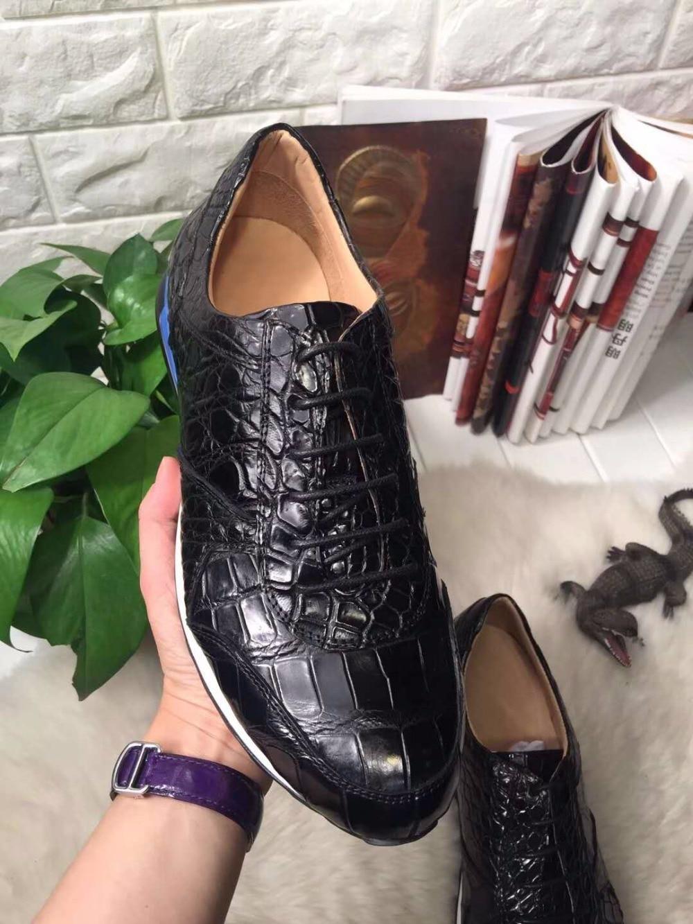 Krokodil 2018 Top Schuh Qualität Echte Schuh Freizeit Mode Reale Bauchhaut Farbe Schwarz Krokodilleder Männer Echtes wgtgq0r