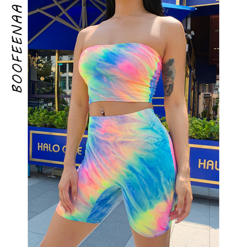 BOOFEENAA Neon Tie Dye Print Sexy Two Piece Set Crop Top And Biker Shorts Matching Sets 2pc Club Outfits Festival Clothing C70H5