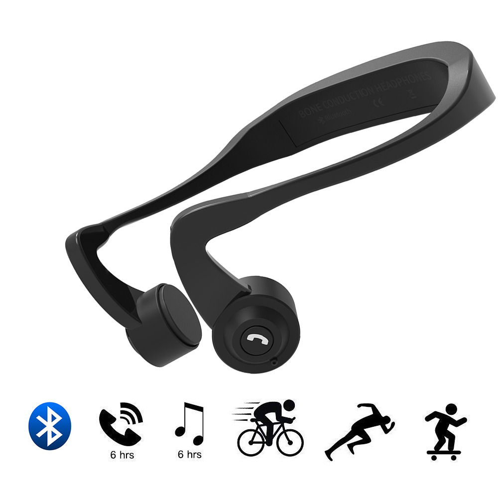 Smart Bone Conduction Headphones, Open Ear Wireless Bluetooth Sports Headset with Mic for iPhone IOS Android Smart Cellphones mix8 open ear bone conduction bluetooth v4 1 headset outdoor sports wireless bluetooth headset head mounted headphones