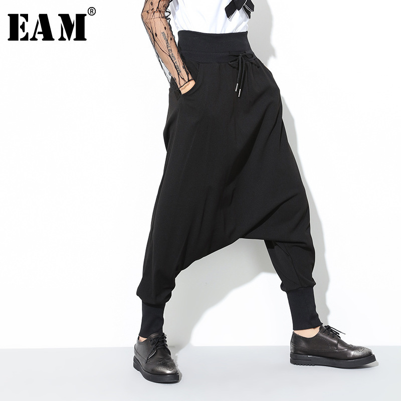 [EAM] 2019 Spring New Fashion Black Solid Drawstring Pockets Causal Loose Big Size Women High Waist Harem Pants RA224