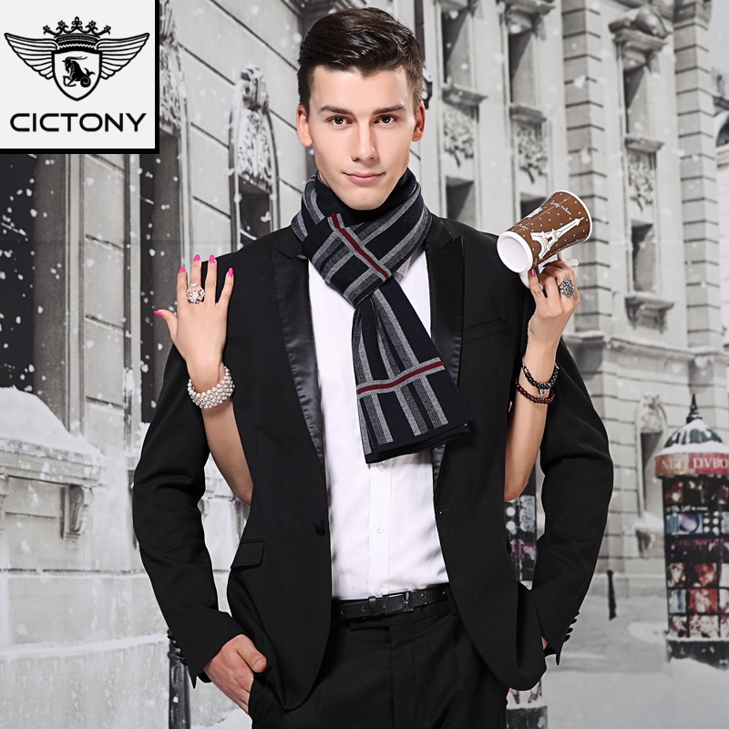 Men's Wool Scarf  Male Winter Gift Warm Thick Men's Scarves Cashmere Pashmina Striped Cotton Shawls Scarves New Year Gift B-3841