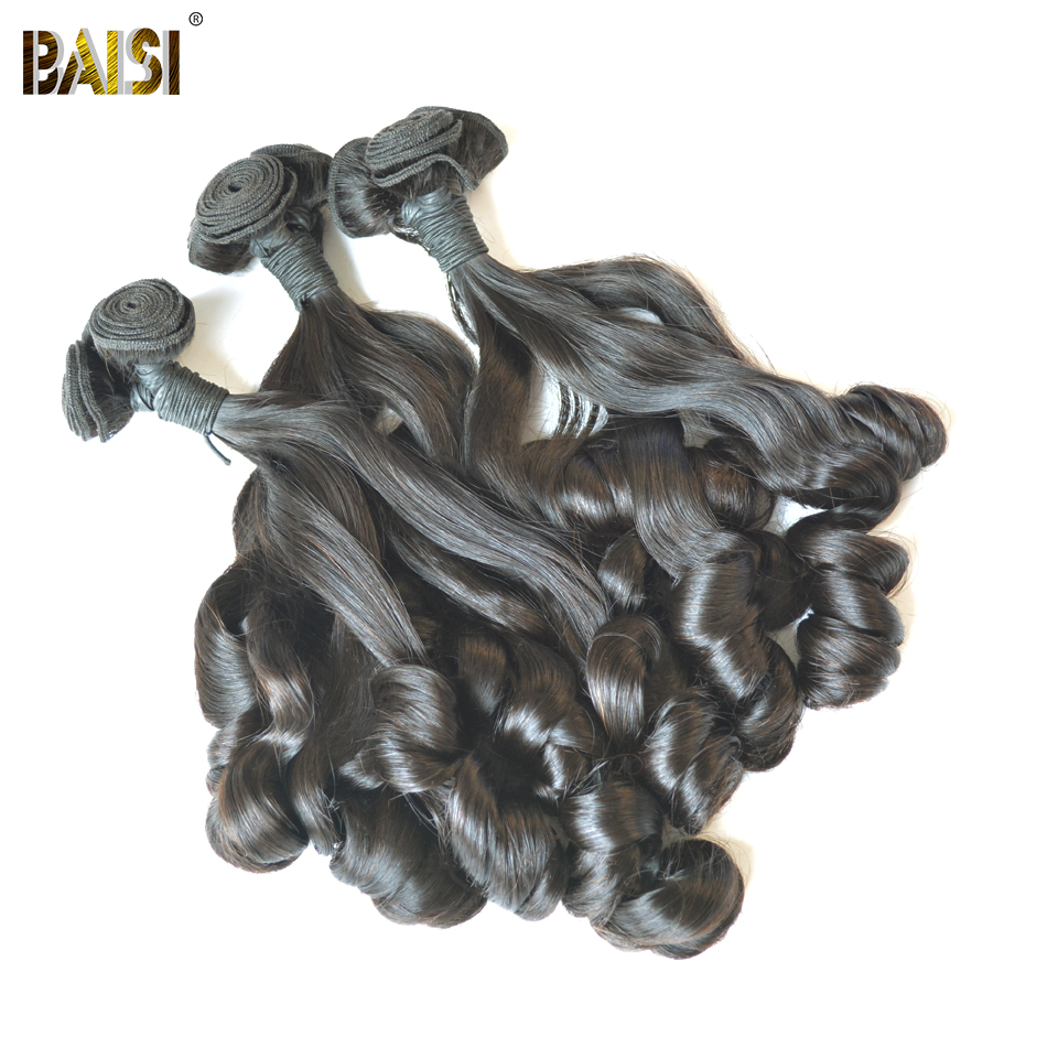 BAISI Hair Weave rebondissant Curly Remy Funmi extension de cheveux - Cheveux humains (noir) - Photo 3