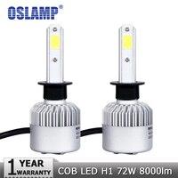 Oslamp 2PCS 72W H1 COB LED Car Headlight Bulbs Auto Led Headlamp 8000lm 6500K Fog Lights