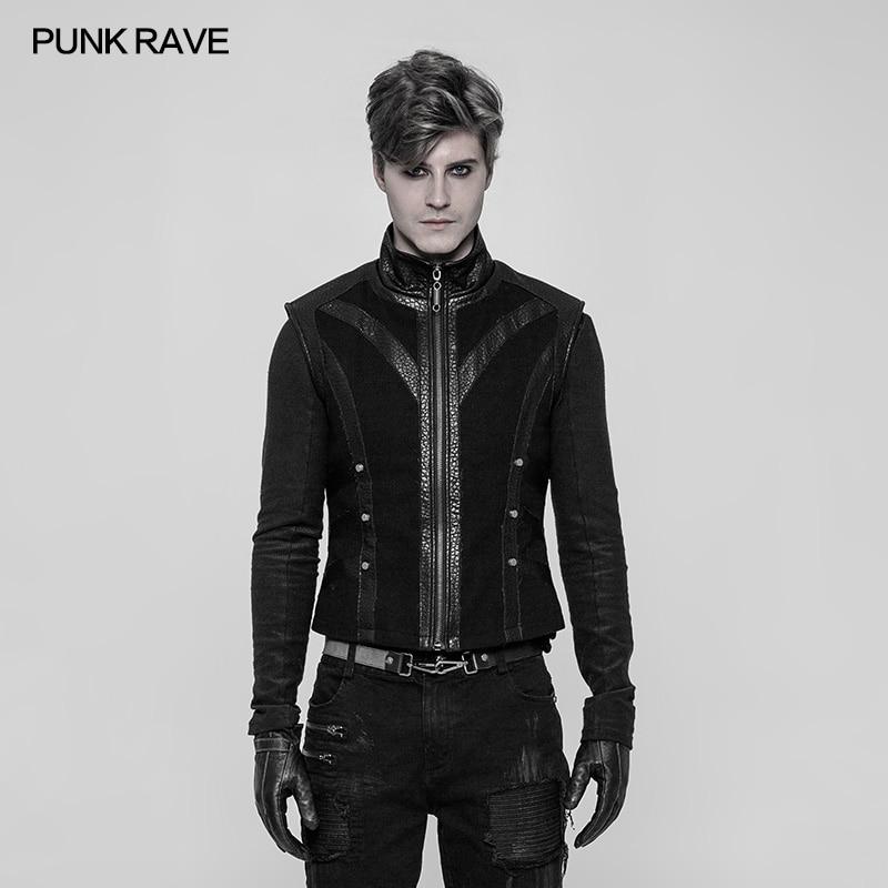 Punk Rave hommes Punk gilet noir mode gothique rétro Rock rugueux moto Rivet Palace hommes gilet T-shirt