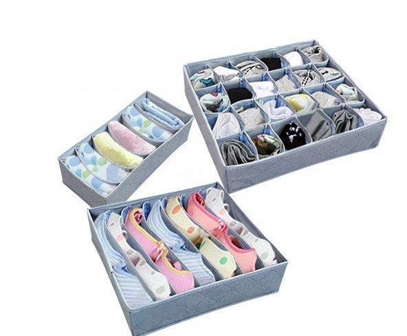 Fashion Grey Various Grid Design Simple Fashion Convenient Folding Storage Box Bag for Bra Underwear Necktie Sock Organizer