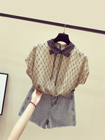 New Rhombic Chevron Chiffon Blouse Womens Short Sleeves Summer Shirt 2019 New Lace Bow Tie Loose Blouses Ladies Basic Shirts Top