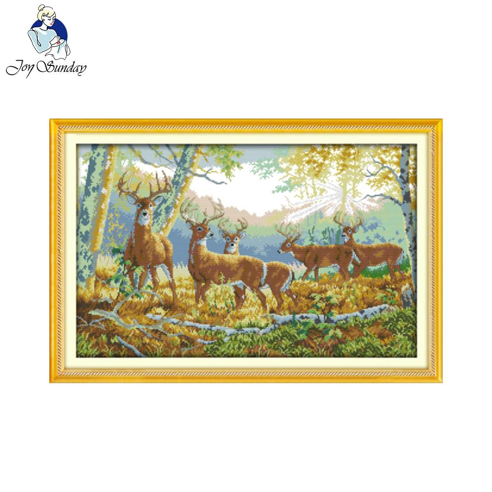 Joy sunday animal style Five deer in forest easy and quickly cross stitch kits stamped pattern for beginners image